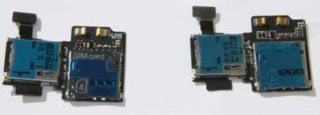 Galaxy S4 I9507 Sim card reader pictured next to the i9505