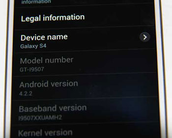 Galaxy S4 I9507 Software, Andriod OS, and baseband